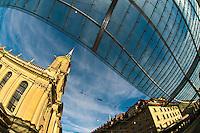 Glass canopy on Bahnhofplatz and the Church of the Holy Spirit (Heiliggeistkirche),  Bern, Canton Bern, Switzerland