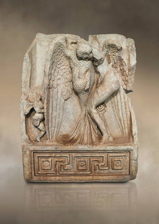 Roman Sebasteion relief  sculpture of Leda and swan, Aphrodisias Museum, Aphrodisias, Turkey.  Against an art background.<br /> <br /> Zeus disguised as a swan assaults Spartan princess Leda. The bird stands on the tips of its outspread wings and presses its webbed foot on the thigh of modest, struggling Leda. The swan is supported from behind a small Eros. From this encounter came a large egg from which were born Helen and the Dionskouroi twins, Kastor and Polydeukes .<br /> <br /> If you prefer to buy from our ALAMY STOCK LIBRARY page at https://www.alamy.com/portfolio/paul-williams-funkystock/greco-roman-sculptures.html . Type -    Aphrodisias     - into LOWER SEARCH WITHIN GALLERY box - Refine search by adding a subject, place, background colour, museum etc.<br /> <br /> Visit our ROMAN WORLD PHOTO COLLECTIONS for more photos to download or buy as wall art prints https://funkystock.photoshelter.com/gallery-collection/The-Romans-Art-Artefacts-Antiquities-Historic-Sites-Pictures-Images/C0000r2uLJJo9_s0