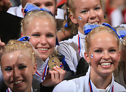1st place in category Cheer Mixed - Senior for lovely Funky Team Gorillaz, Finland during final ceremony at second day of European Cheerleading Championship 2008, on July 6, 2008, in Arena Tivoli, Ljubljana, Slovenia. (Photo by Vid Ponikvar / Sportal Images).