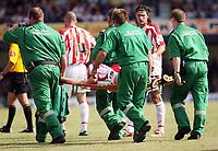 Photo: Chris Ratcliffe.<br />Southend United v Stoke City. Coca Cola Championship.<br />05/08/2006.<br />Luke Chadwick of Stoke being stretchered off.