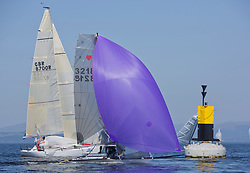 Largs Regatta Festival 2019<br /> <br /> Dinghies at Portachur Spit buoy, Cherub
