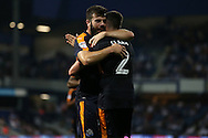 GOAL / CELE - Grant Hanley of Newcastle United celebrates  with Ciaran Clark after scoring his sides sixth goal to make it 0-6.  EFL Skybet football league championship match, Queens Park Rangers v Newcastle Utd at Loftus Road Stadium in London on Tuesday 13th September 2016.<br /> pic by John Patrick Fletcher, Andrew Orchard sports photography.