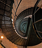 NC01358-00...NORTH CAROLINA - Spiral stairway leading to the top of the Currituck Beach Lighthouse on the Outer Banks at Corrola.
