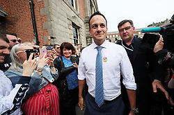 An Taoiseach Leo Varadkar arrives at Dublin Castle for the results of the referendum on the 8th Amendment of the Irish Constitution which prohibits abortions unless a mother's life is in danger. Picture date: Saturday May 26, 2018. See PA story IRISH Abortion. Photo credit should read: Brian Lawless/PA Wire