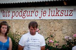 """bit podgor'c je luksus"" during Slovenian National Championship in Road Cycling, on June 23, 2013, in Gabrje, Slovenia. (Photo by Urban Urbanc / Sportida.com)"