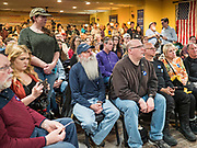 02 FEBRUARY 2020 - BOONE, IOWA: People listen to Andrew Yang during a campaign event in Boone, IA. More than 150 people crammed into a banquet room at La Carreta, a Mexican restaurant in Boone to see Andrew Yang on one of his last campaign events before the Iowa Caucuses. Yang, an entrepreneur, is running for the Democratic nomination for the US Presidency in 2020. He is in central Iowa finishing his 17 day bus tour across the state. Iowa hosts the the first election event of the presidential election cycle. The Iowa Caucuses will be on Feb. 3, 2020.    PHOTO BY JACK KURTZ