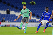 Everton defender Mason Holgate (4) from Brighton and Hove Albion midfielder Yves Bissouma (8) during the Premier League match between Brighton and Hove Albion and Everton at the American Express Community Stadium, Brighton and Hove, England UK on 12 April 2021.