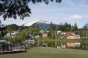 USA, Alaska, The town of Wrangell as seen from Chief Shakes Island.