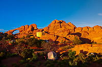 Camping at Devils Garden Campground in Arches National Park, near Moab, Utah USA