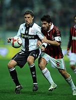 """Hernan CRESO Parma e Rino GATTUSO Milan.<br /> Parma, 24/03/2010 Stadio """"Tardini""""<br /> Parma-Milan.<br /> Campionato Italiano Serie A 2009/2010<br /> Foto Nicolo' Zangirolami Insidefoto"""