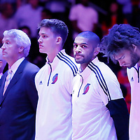 24 October 2014: Portland Trail Blazers forward Nicolas Batum (88) stands during the national anthem prior to the Portland Trail Blazers 99-89 victory over the Los Angeles Clippers, in a preseason game, at the Staples Center, Los Angeles, California, USA.