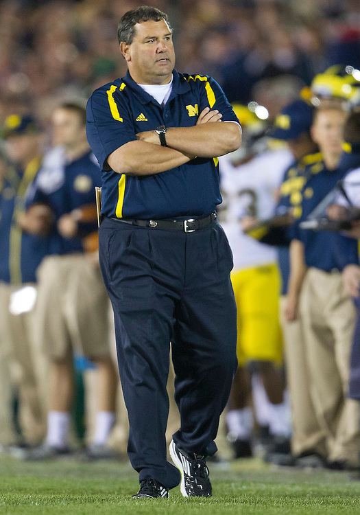 September 22, 2012:  Michigan head coach Brady Hoke during NCAA Football game action between the Notre Dame Fighting Irish and the Michigan Wolverines at Notre Dame Stadium in South Bend, Indiana.  Notre Dame defeated Michigan 13-6.