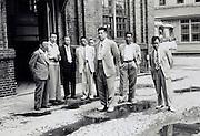 Japan 1960s sake resellers visit a factory industrial complex