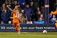 Luton Town forward James Collins (19) shoots towards the goal during the The FA Cup 3rd round replay match between Luton Town and Sheffield Wednesday at Kenilworth Road, Luton, England on 15 January 2019.