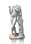 Roman statue of a young Satyr from the Hadranic period circa 117-138 AD excavated from an area near the via XX Settembre and Via Firenza, Rome, Italy. A young Satyr, wearing a panther's skin tied on the right shoulder, plays the tibia oblique (flute) whist reclining next to a tree trunk. The statue is based on a Greek prototype from the school of Greek sculptor Praxiteles created around 300 BC.  Inv 551, The National Roman Museum, Rome, Italy .<br /> <br /> If you prefer to buy from our ALAMY PHOTO LIBRARY  Collection visit : https://www.alamy.com/portfolio/paul-williams-funkystock/roman-museum-rome-sculpture.html<br /> <br /> Visit our ROMAN ART & HISTORIC SITES PHOTO COLLECTIONS for more photos to download or buy as wall art prints https://funkystock.photoshelter.com/gallery-collection/The-Romans-Art-Artefacts-Antiquities-Historic-Sites-Pictures-Images/C0000r2uLJJo9_s0