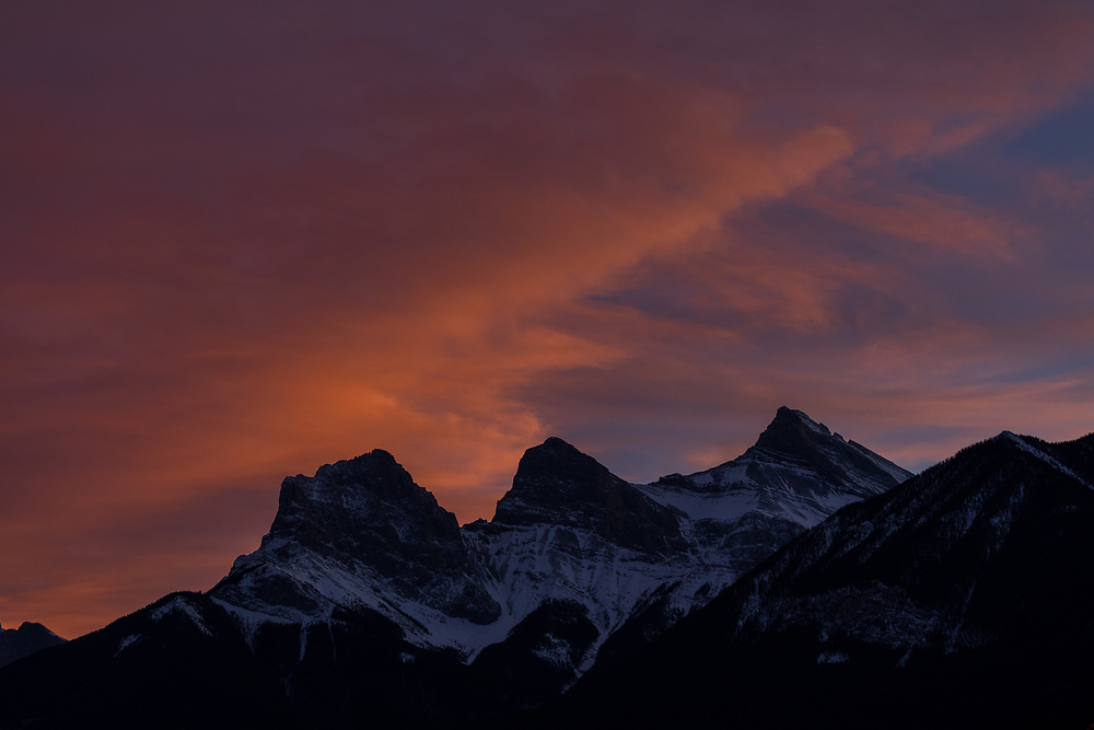 Three Sisters in Canmore at sunrise