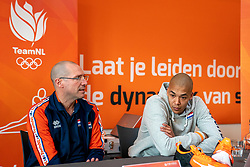 28-12-2019 NED: Pressmoment Volleyball, Arnhem<br /> Volleyball women & men have a final training and press conference before they leave for Olympic Qualification Tournament / Coach Roberto Piazza en Nimir Abdelaziz