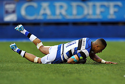 Anthony Watson (Bath) scores a first half try - Photo mandatory by-line: Patrick Khachfe/JMP - Tel: Mobile: 07966 386802 23/05/2014 - SPORT - RUGBY UNION - Cardiff Arms Park, Cardiff - Bath Rugby v Northampton Saints - Amlin Challenge Cup Final.