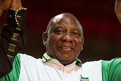 JOHANNESBURG, Dec. 18, 2017  Cyril Ramaphosa celebrates after the announcement of results at South Africa's ruling party African National Congress' conference in Johannesburg, South Africa, on Dec. 18, 2017. South Africa's ruling party African National Congress (ANC) elected Cyril Ramaphosa on Monday to be the party's president for the next five years. (Credit Image: © Dave Naicker/Xinhua via ZUMA Wire)
