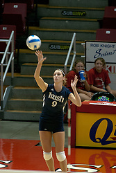 15 October 2005: Notre Dame Fighting Irish Carolyn Cooper takes a turn at the serving line. ..The Fighting Irish of Notre Dame knocked out the Illinois State Redbirds in 4 games.  The match was filled with several action packed vollies. A resonable fan base was on hand for this rare Monday evening competition at Redbird Arena on the campus of Illinois State University in Normal IL