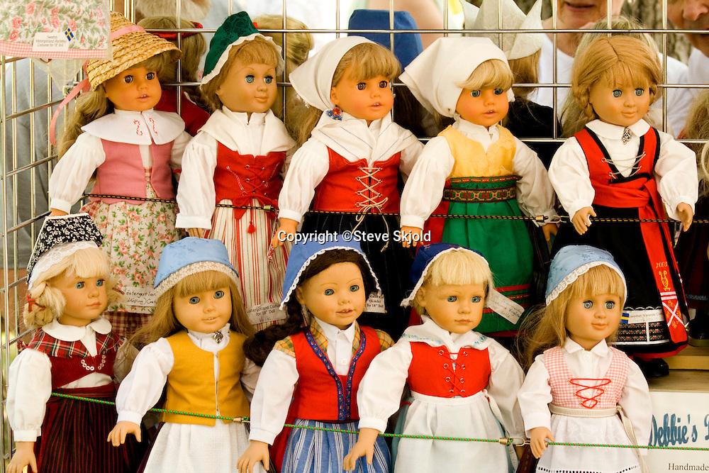 Handmade Swedish Scandinavian doll dresses. Svenskarnas Dag Swedish Heritage Day Minnehaha Park Minneapolis Minnesota USA
