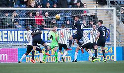Falkirk's Paul Watson's header just misses. Falkirk 1 v 1 Dunfermline, Scottish Championship game played 4/5/2017 at The Falkirk Stadium.