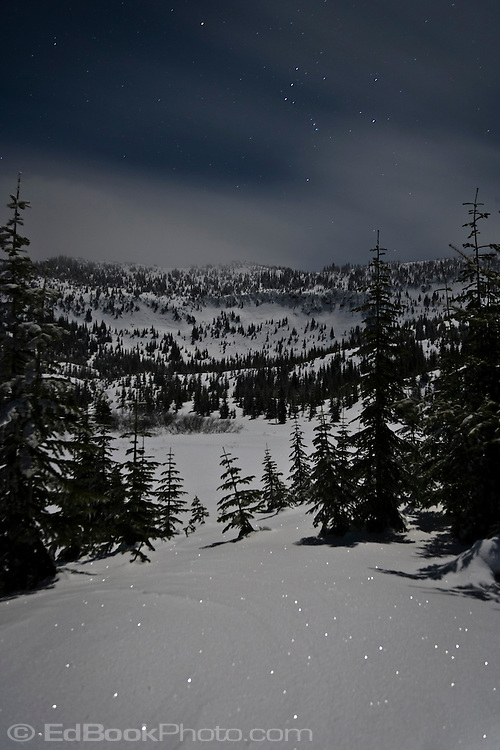 The Morge Lakes along the Mount Tahoma Trails Puyallup Ridge Trail at night with the constellation, Orion climbing the sky.  The snow is lighted by starlight and moonlight, The Mount Tahoma Trails is a non-profit hut-to-hut crosscountry ski and snowshoe trail system in the mountains near Mount Rainier in the Washington state Cascade Mountain Range.