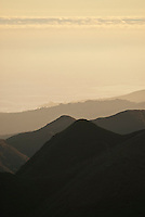 Smoke and haze from Zaca Fire over pacific coast north of Santa Barbara. July 2007, the Zaca fire became 2nd largest in California's recorded history