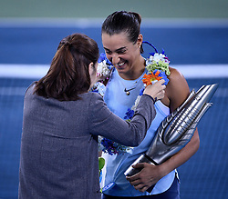 WUHAN, Sept. 30, 2017 Chinese two- grandslam winner Li Na (L) grants wreath to Caroline Garcia of France on the awarding ceremony after the singles final match against Ashleigh Barty of Australia at 2017 WTA Wuhan Open in Wuhan, capital of central China's Hubei Province, on Sept. 30, 2017. Caroline Garcia won 2-1. wdz) (Credit Image: © Wang Peng/Xinhua via ZUMA Wire)