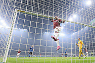 Ante Rebic of AC Milan throws himself towards at a cross finishing in the back of the net during the Serie A match at Giuseppe Meazza, Milan. Picture date: 9th February 2020. Picture credit should read: Jonathan Moscrop/Sportimage