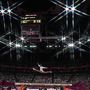 Alexandra Raisman, USA,  reacts as she has her position upgraded from fourth to third during the Women's Gymnastics Apparatus Beam final at North Greenwich Arena during the London 2012 Olympic games London, UK. 7th August 2012. Photo Tim Clayton