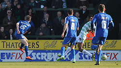 Oldham Athletic's Carl Winchester scores his sides goal - Photo mandatory by-line: Harry Trump/JMP - Mobile: 07966 386802 - 07/03/15 - SPORT - Football - Sky Bet League One - Yeovil Town v Oldham Athletic - Huish Park, Yeovil, England.