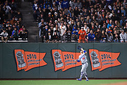 Los Angeles Dodgers left fielder Enrique Hernandez (14) catches a San Francisco Giants pop fly at AT&T Park in San Francisco, California, on September 13, 2017. (Stan Olszewski/Special to S.F. Examiner)