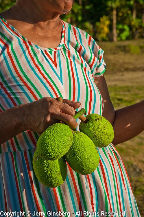 Samoan woman showing off her homegrown breadfruit, Ta'u, American Samoa.