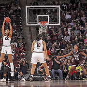 South Carolina's A'ja Wilson grabs a pass during a Gamecocks women's college basketball game against Mississippi State in Columbia, S.C. ©Travis Bell Photography