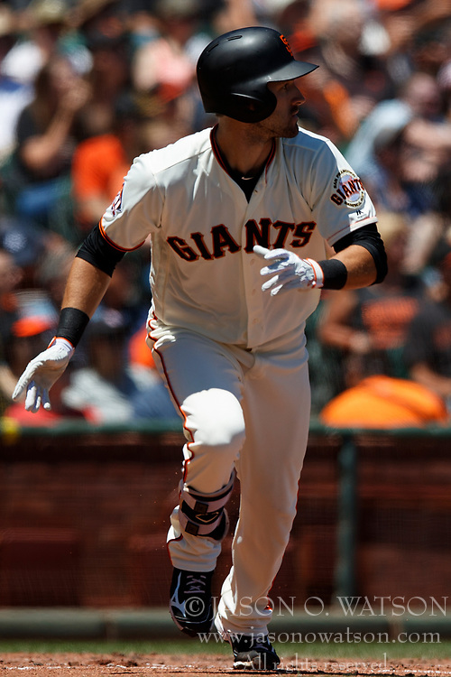 SAN FRANCISCO, CA - JULY 15: Steven Duggar #6 of the San Francisco Giants at bat against the Oakland Athletics during the second inning at AT&T Park on July 15, 2018 in San Francisco, California. The Oakland Athletics defeated the San Francisco Giants 6-2. (Photo by Jason O. Watson/Getty Images) *** Local Caption *** Steven Duggar