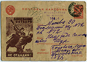 'Soviet propaganda postcard f 1943, showing a German being bayonetted by a Russianin hand-to-hand fighting. The Card bears the censor's stamp. World War II.'