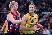 Baskonia's Chase Budinger and Iberostar Tenerife's Tim Abromaitis during Quarter Finals match of 2017 King's Cup at Fernando Buesa Arena in Vitoria, Spain. February 16, 2017. (ALTERPHOTOS/BorjaB.Hojas)