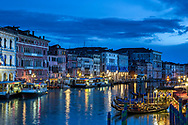 Evening light during blue hour on the Grand Canal of Venice Italy