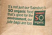 So Organic juts shopping bag from Sainsbury supermarket, England, UK