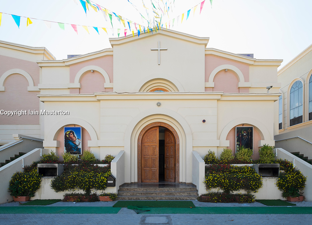 Exterior view of Mor Ignatius Jacobite Syrian Orthodox Church at Jebel Ali in Dubai United Arab Emirates