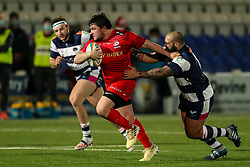 Sam Crean of Saracens is tackled by Kai Owen of Coventry Rugby (on loan from Worcester Warriors)  - Mandatory by-line: Nick Browning/JMP - 26/02/2021 - RUGBY - Butts Park Arena - Coventry, England - Coventry Rugby v Saracens - Friendly