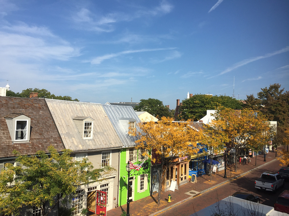 View of colorful shops in Annapolis, Maryland