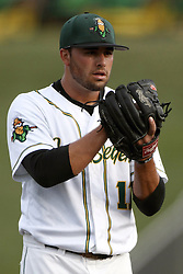 08 August 2015:  Michael Schweiss pitched a complete 3 hit game and the bats got behind him for an 11-0 shut out victory during a Frontier League Baseball game between the Rockford Aviators and the Normal CornBelters at Corn Crib Stadium on the campus of Heartland Community College in Normal Illinois