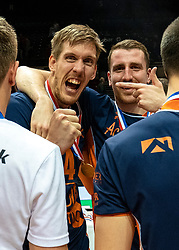 12-05-2019 NED: Abiant Lycurgus - Achterhoek Orion, Groningen<br /> Final Round 5 of 5 Eredivisie volleyball, Orion win 3-2 and is Dutch Champion. Joris Marcelis #4 of Orion, Samuel Shenton #14 of Orion