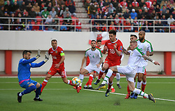 Republic of Ireland's James McClean (right) in action during the UEFA Euro 2020 Qualifying, Group D match at the Victoria Stadium, Gibraltar.