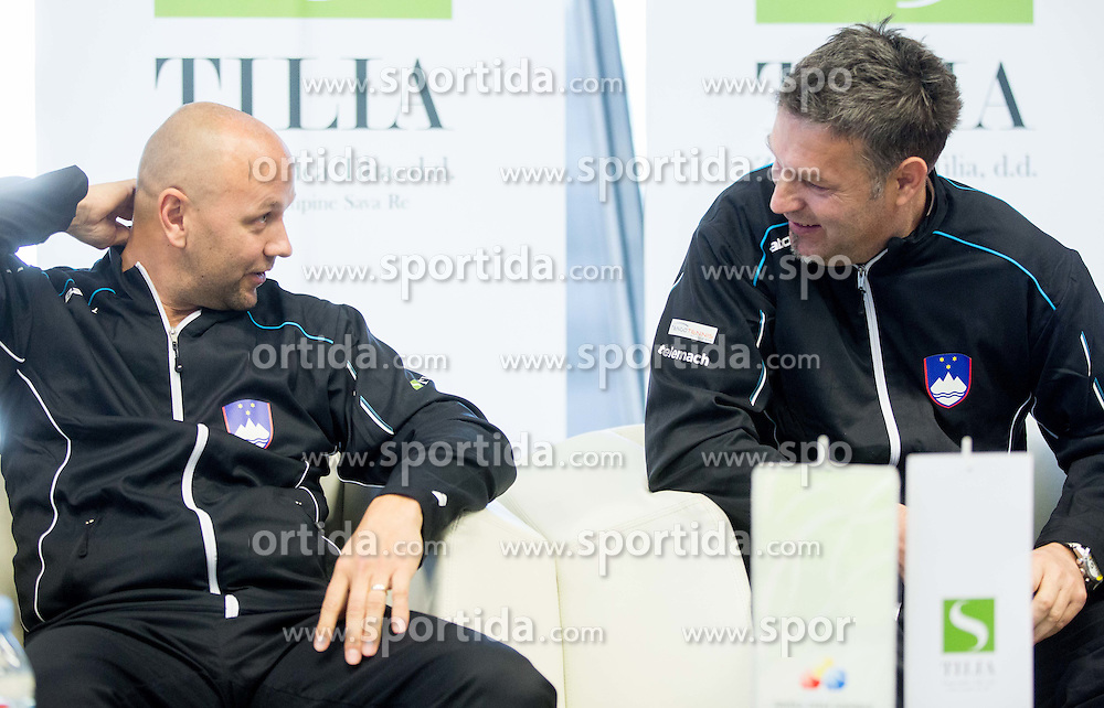Andrej Krasevec and Zoran Kofol during press conference of Slovenian women Tennis team before Fed Cup tournament in Tallinn, Estonia, on January 28, 2015 in Kristalna palaca, Ljubljana, Slovenia. Photo by Vid Ponikvar / Sportida