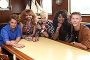 Kennismaking deelnemers Love Exchange op de The Love Boat in Amsterdam. De Heroes of Love gaan tijdens Amsterdam Gay Pride hun levens met elkaar en de wereld delen via het social media evenement Love Exchange.<br /> <br /> Op de foto:   DJ Arbores, travestiet Jennifer Hopelezz, mode-ontwerper Bas Kosters, zangeres Berget Lewis en journalist Margriet van der Linden