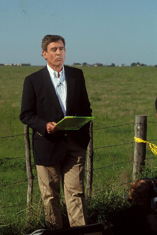 CBS' Dan Rather doing evening news media camp in Waco, Texas.  ©Bob Daemmrich/