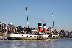 © Licensed to London News Pictures. 27/09/2018. London, UK.  Historic paddle steamer (PS) Waverley on the River Thames in warm sunny weather on the first day of her central London visit. The Waverley, built in the Clyde, Scotland in 1956, is the world's last remaining seagoing paddle steamer. Photo credit: Vickie Flores/LNP